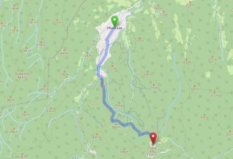 маршрут Убинская - Собер-Баш