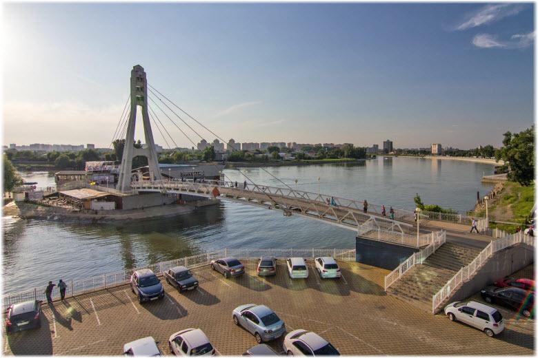 панорама Кубани и Поцелуевского моста