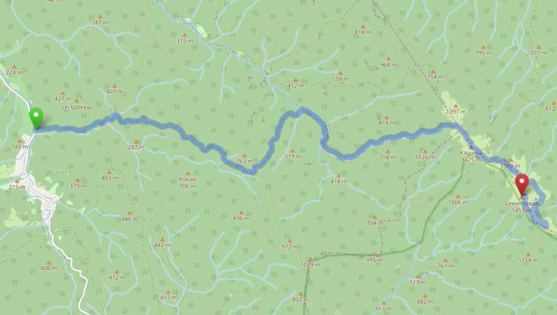 маршрут Псеушхо - Семиглавая