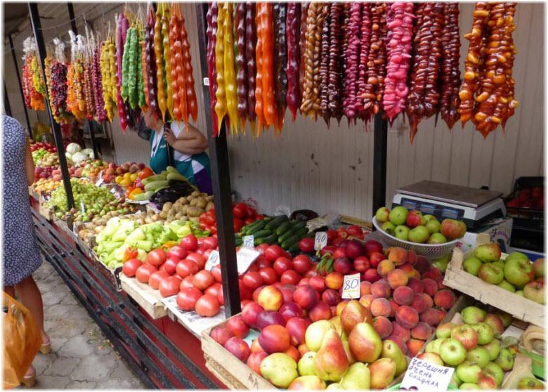 овощи и фрукты на Центральном анапском рынке